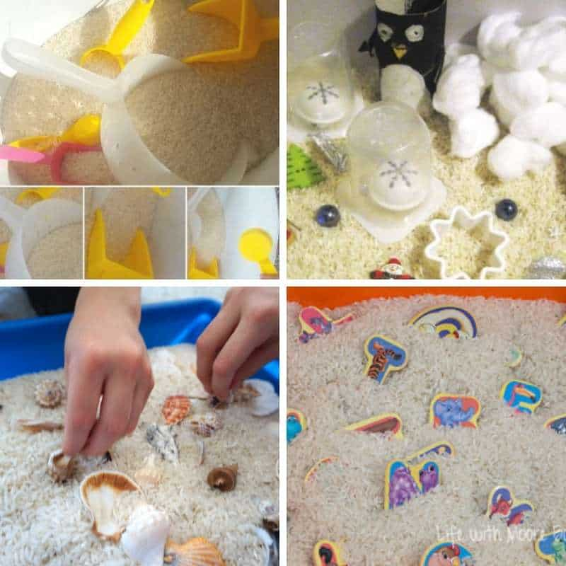 sensory bins with plain white rice for toddlers