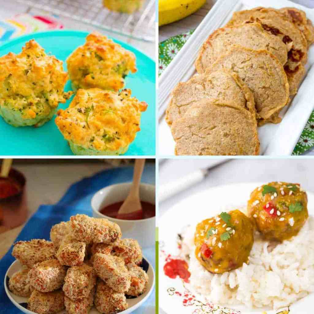 toddler finger food ideas for toddlers brocolli muffins rice cereal pancakes, zucchini nuggests baby meatballs