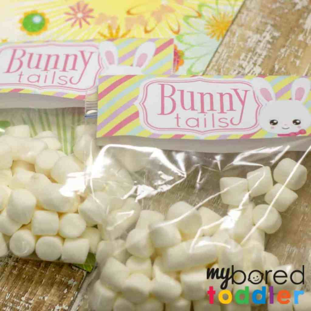 Easter Bunny Tails free treat bag topper printable squre