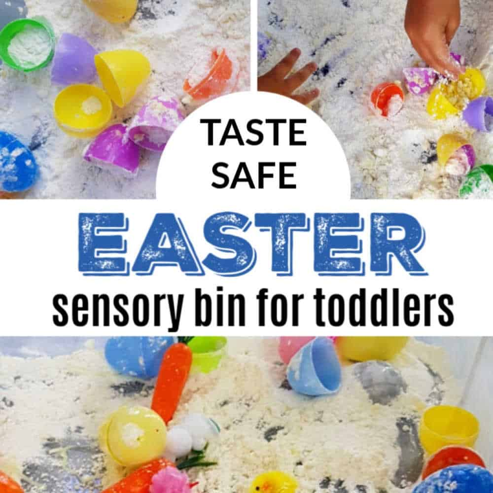 Taste safe Easter cloud dough sensory bin