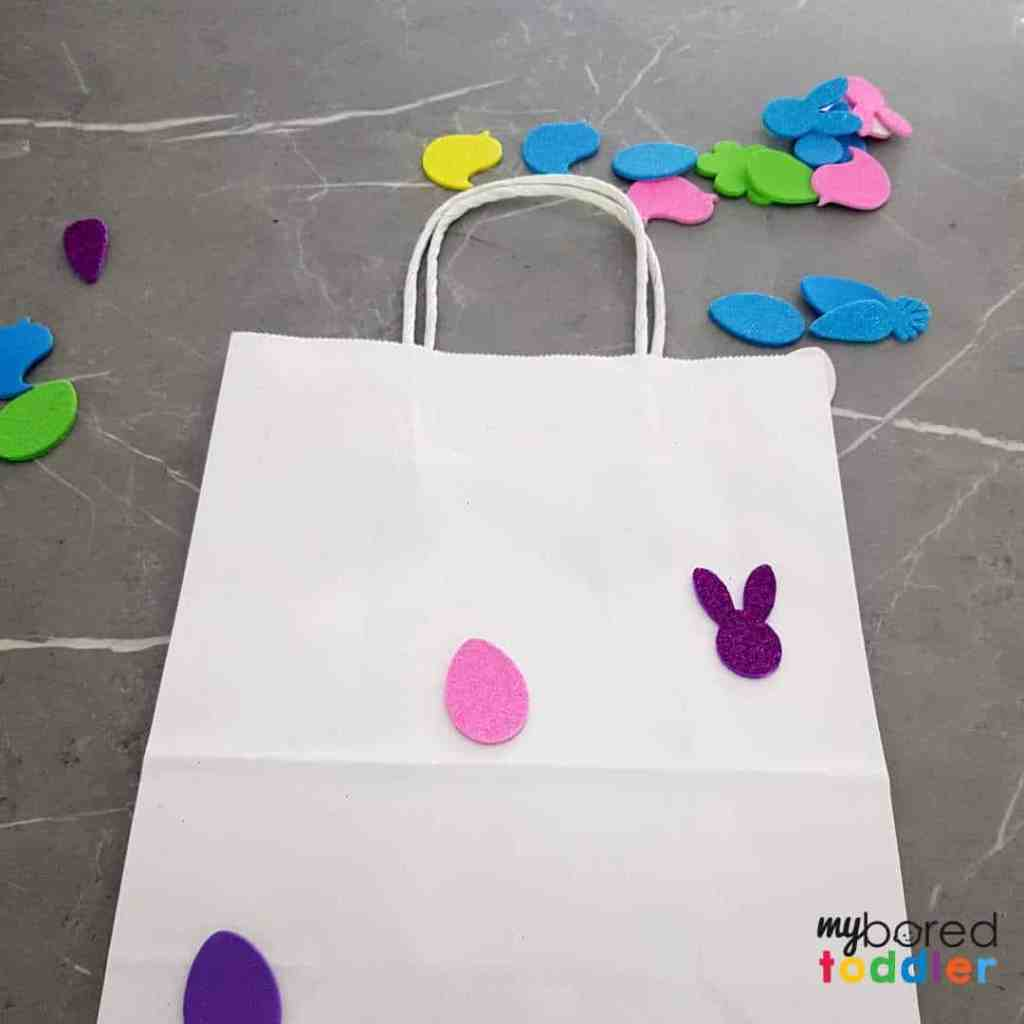 easter gift bags using stickers for toddlers to make step 2