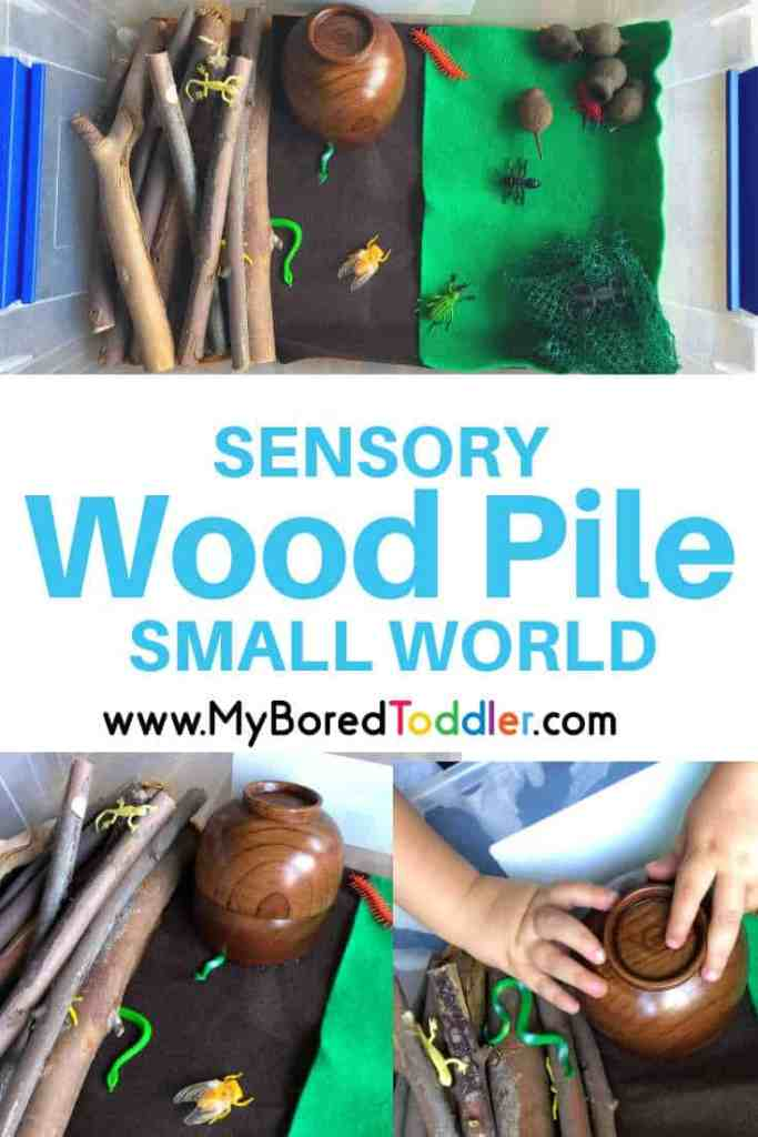 sensory wood pile small world play for toddlers pinterest