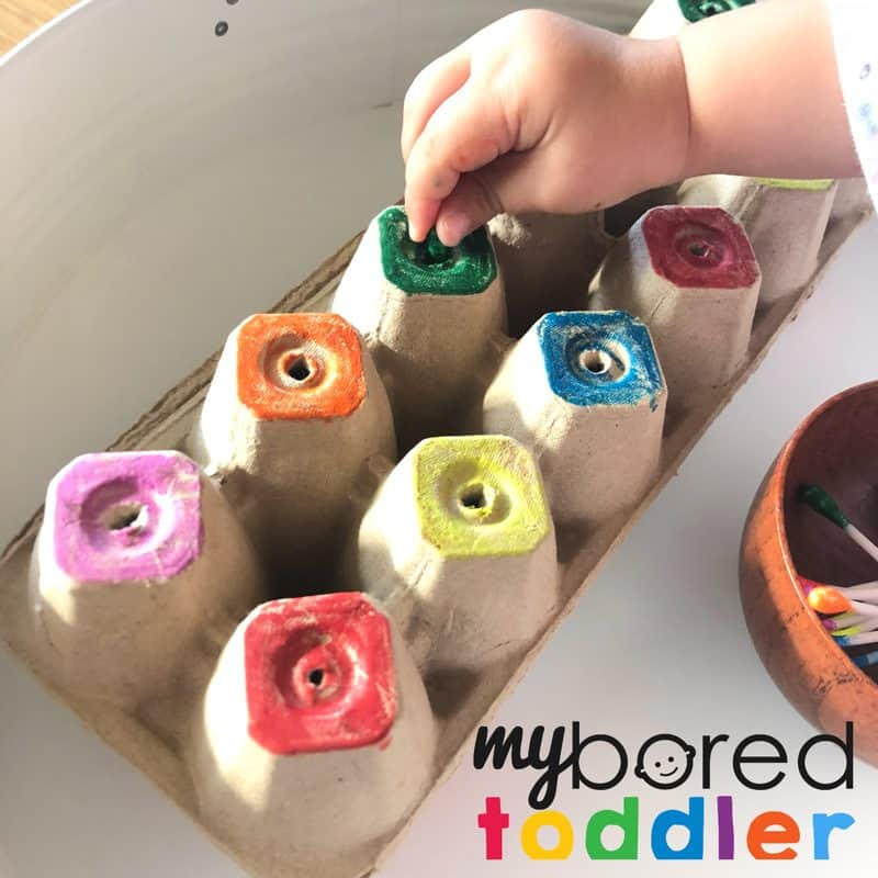 cotton tip fine motor colour recogntion activity for toddlers