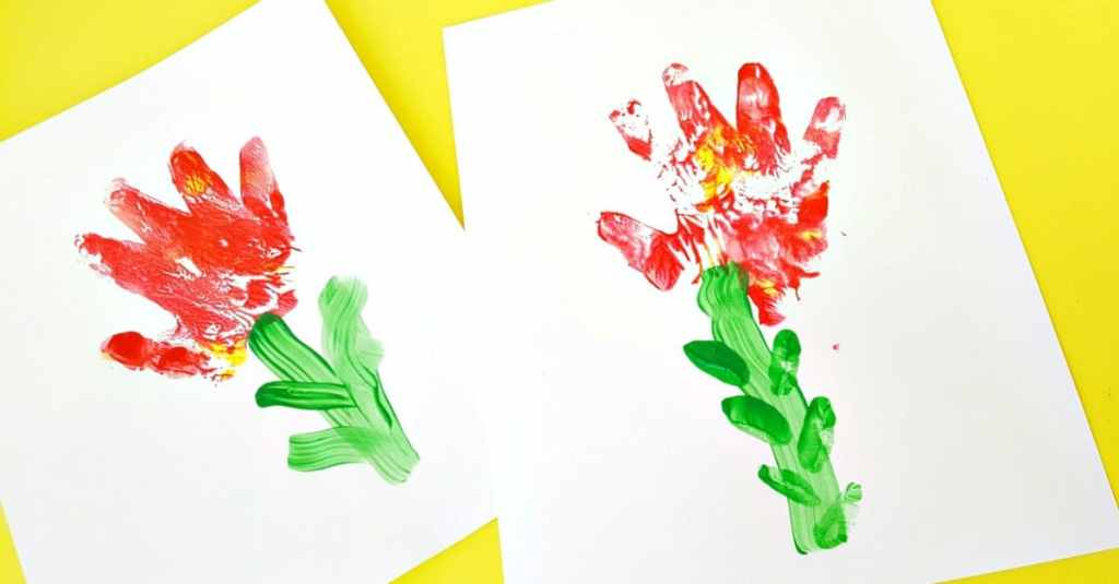 Toddler craft making flowers with hand prints