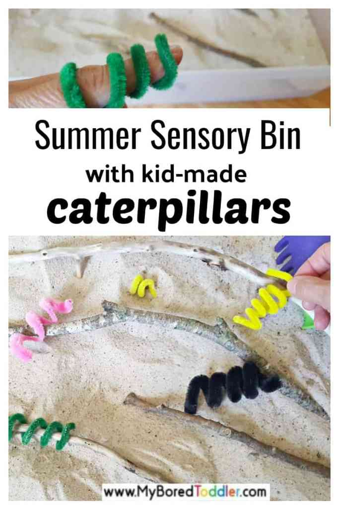 summer sensory bin with kid-made caterpillars
