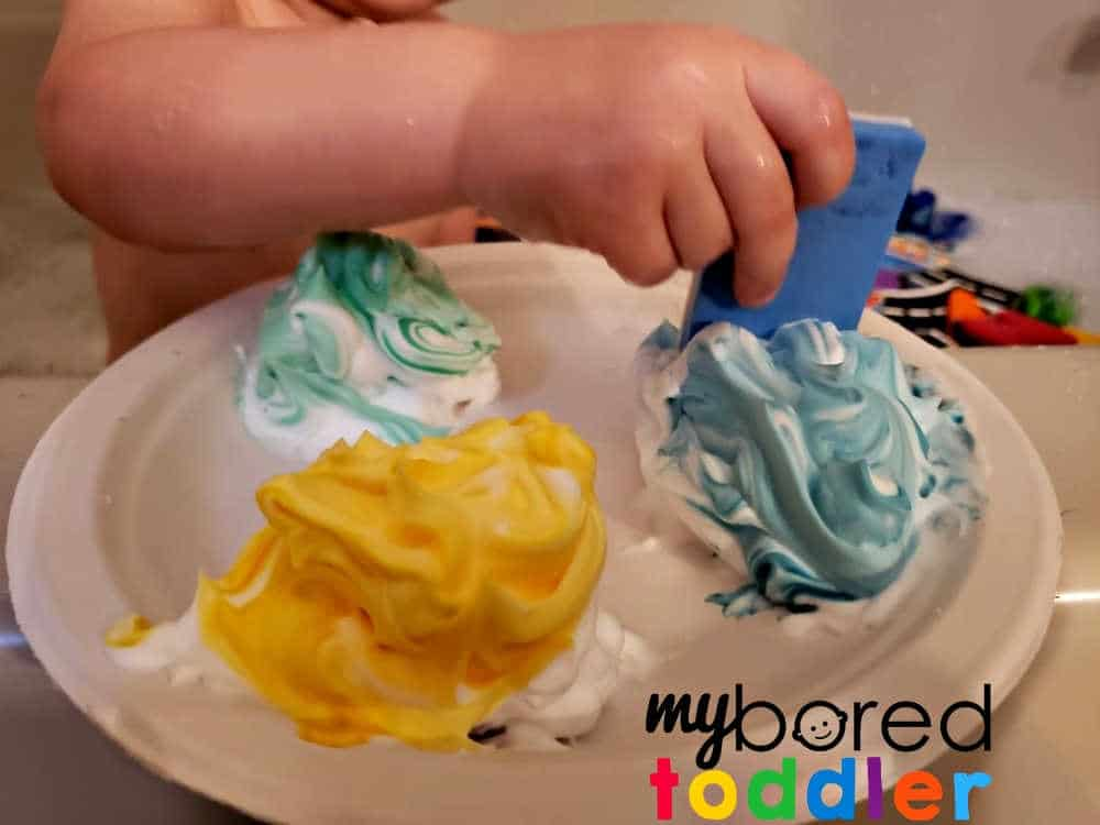 bath time shaving cream play activity for toddlers
