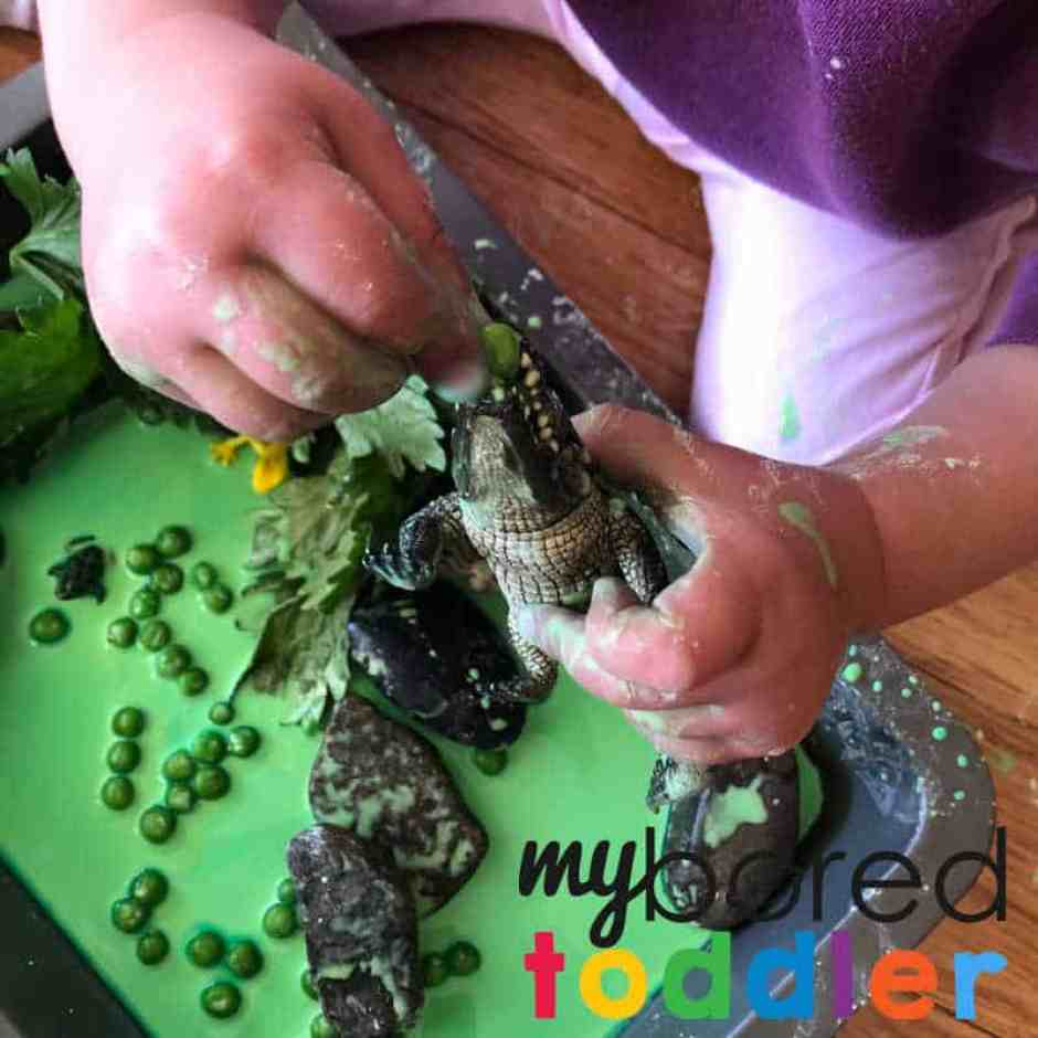 swamp oobleck sensory play for toddlers