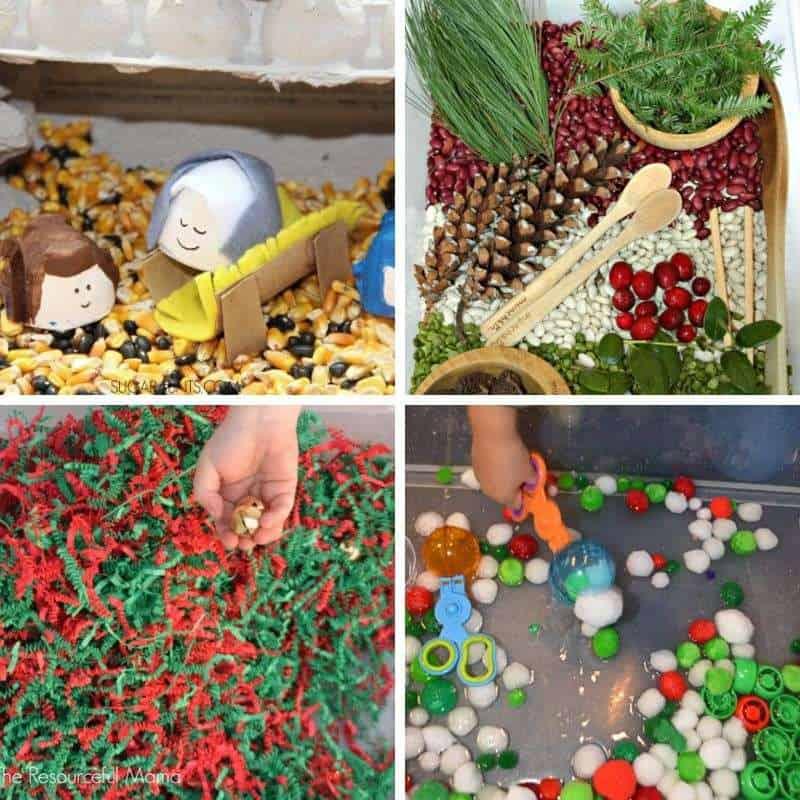 christmas sensory bins for kids