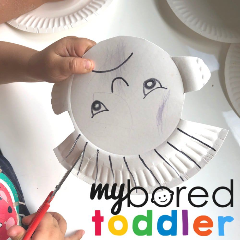fine motor skills for toddlers paper plate hair cutting