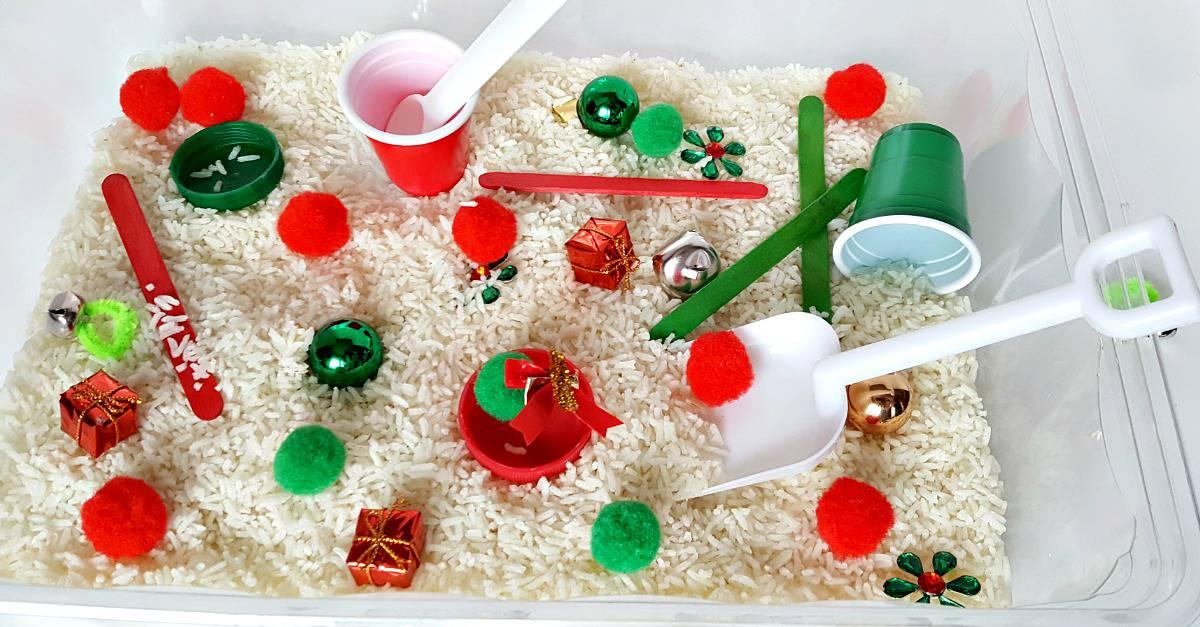 Christmas theme sensory bin for toddlers