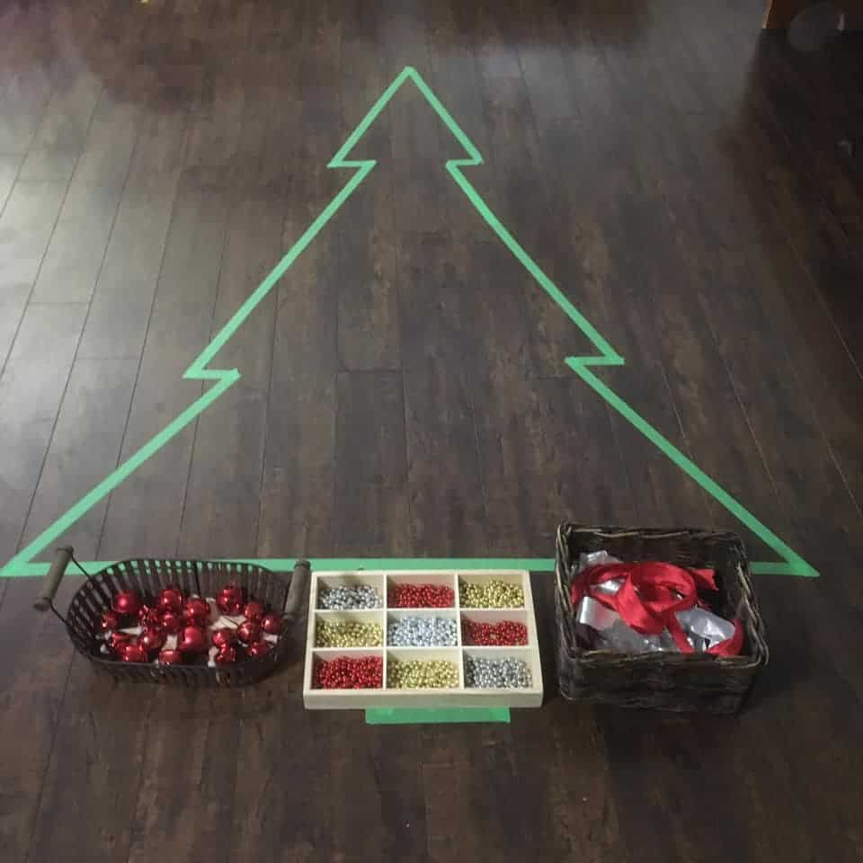 loose parts Christmas tree play for toddlers