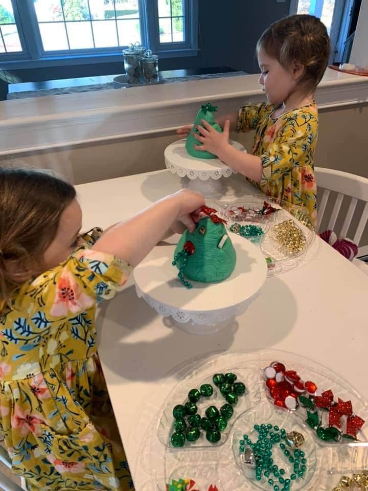 decorating playdough christmas trees - easy Christmas activity for toddlers candie