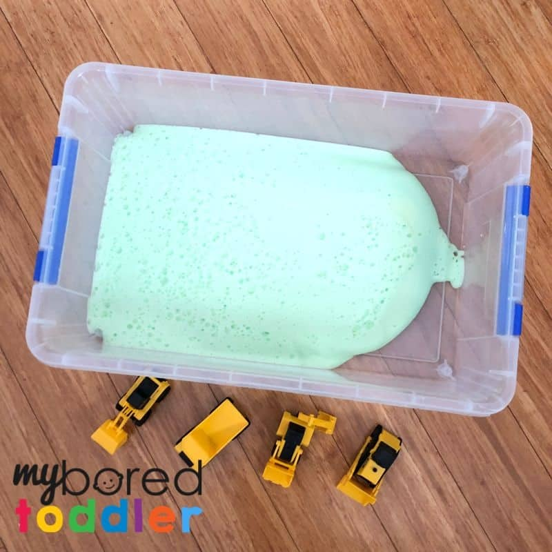 soap foam in tub sensory bin play toddlers