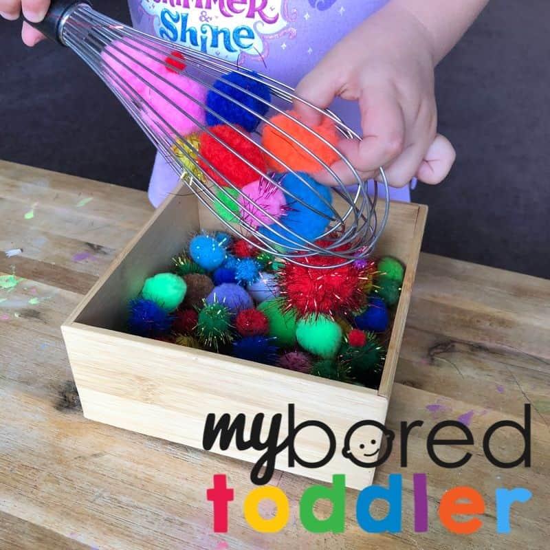 pom pom whisk toddler activity idea to do at home