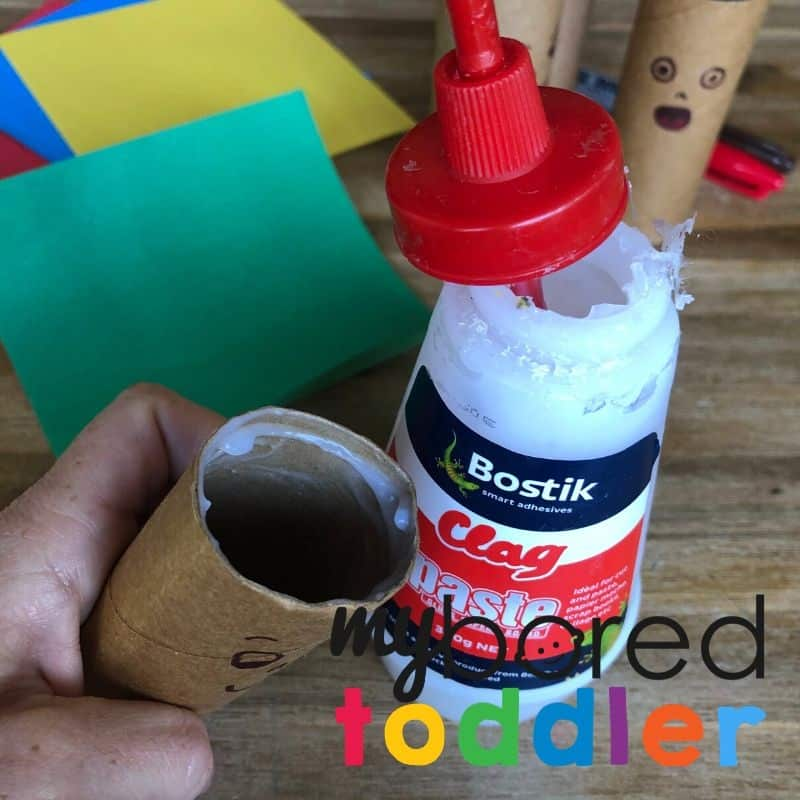 crazy hair toilet roll craft for toddlers step 2