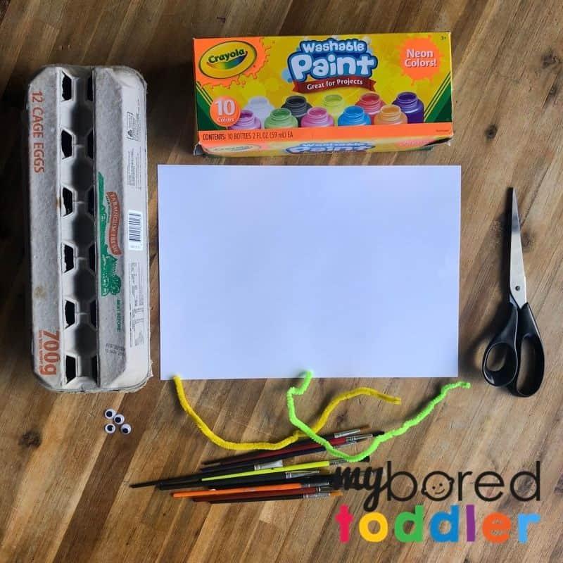 egg carton caterpillar craft what you need