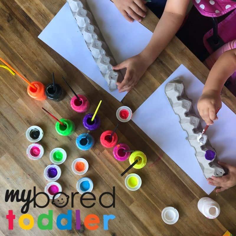 how to make an egg carton caterpillar step 3