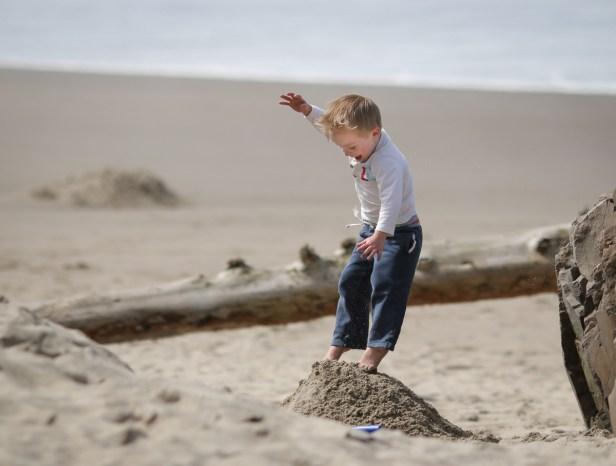 little boy jumping