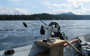 downrigger on skiff in Ketchikan