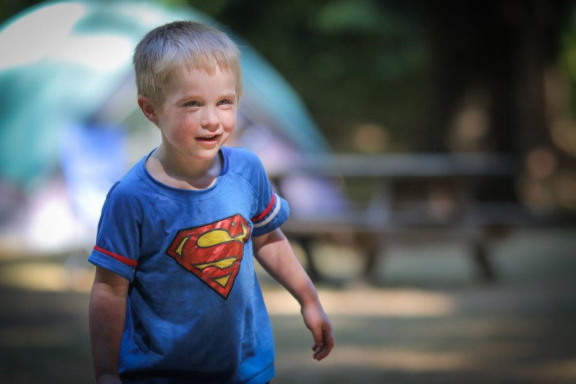 little boy with superman t-shirt