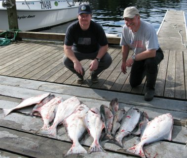 halibut and salmon on dock at Knudsen Cove