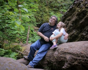 dad and daughter on hike