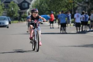 little girl riding mountain bike