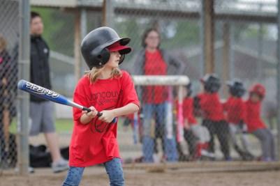 little girl hitting baseball