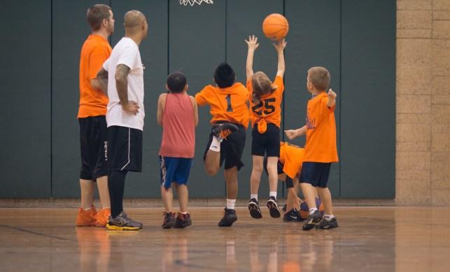 alaina shooting basketball