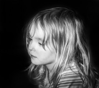 little girl portrait black and white