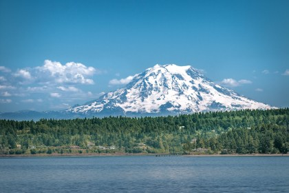 mount rainier across the puget sound
