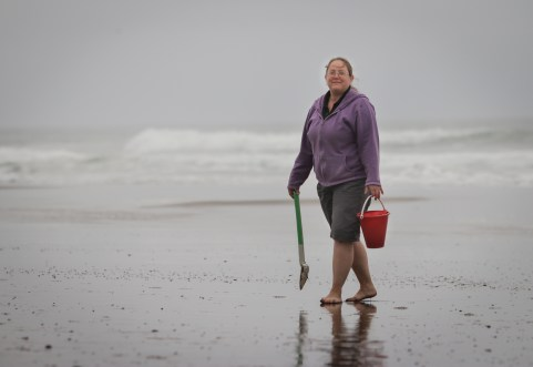 mom walking on beach