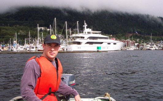 on skiff in Ketchikan