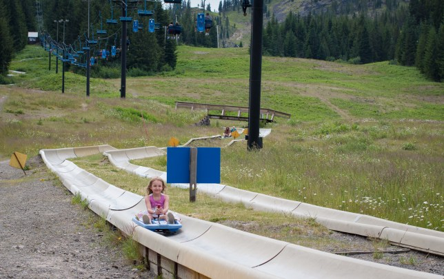 little girl on alpine slide mount hood