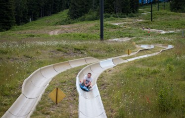 dad on alpine slide mount hood