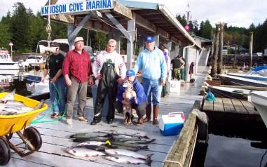 salmon on dock Knudsen Cove