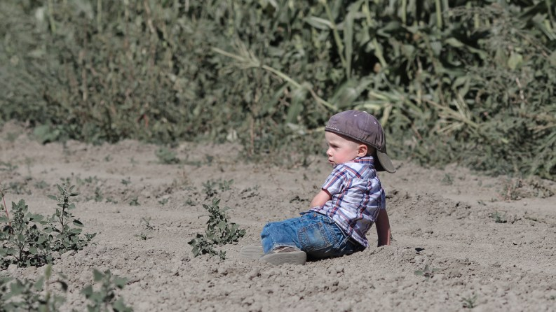 little boy in seahawk hat