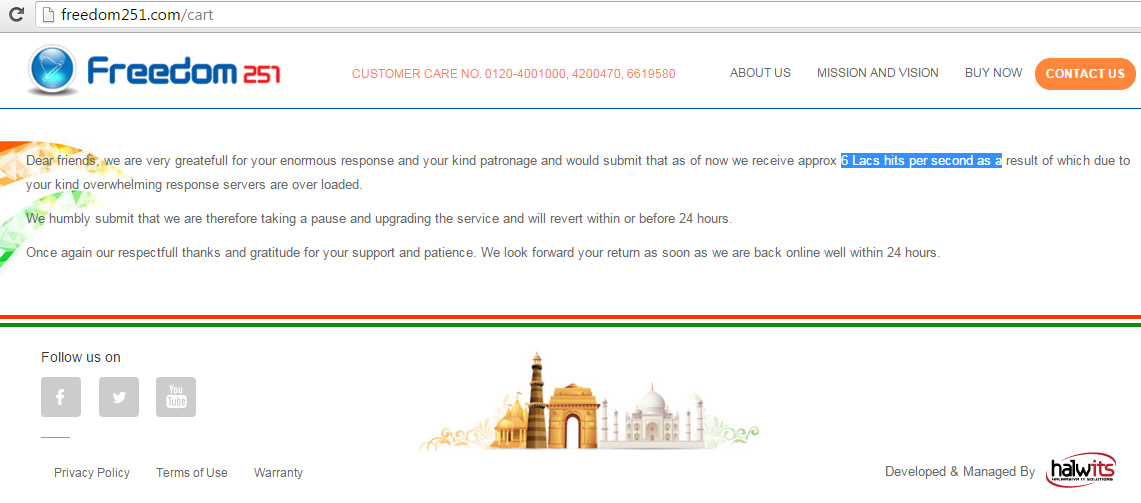Website Traffice approx 6 Lacs hits per second on #freedom251.com