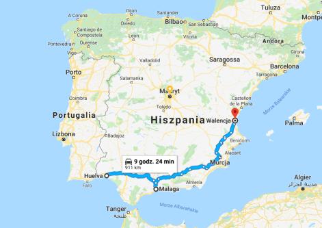 pocztówka z Hiszpanii mapka Hiszpania