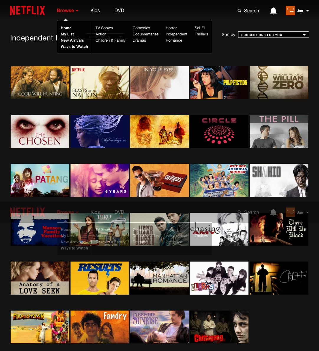 Here is the Netflix SA full content library