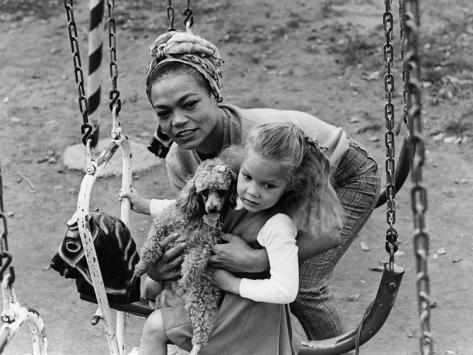 Eartha Kitt and Daughter Kitt Shapiro on Swing