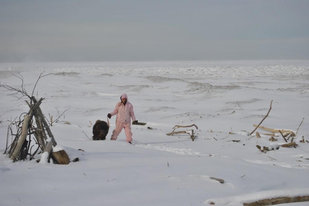 winter walk on lake erie