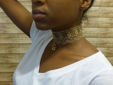 gold lace choker side view