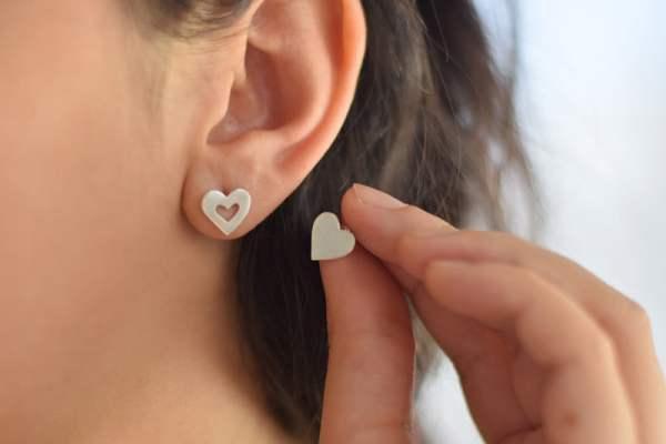Aros Corazón de Plata 925,
