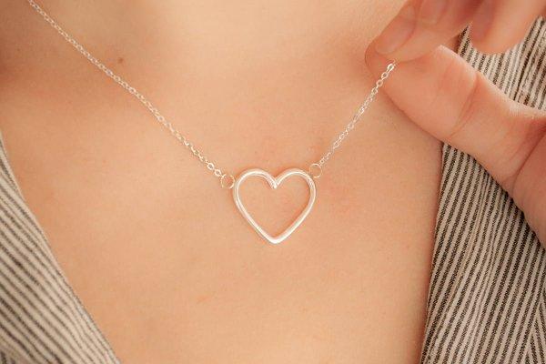 Collar dos corazones de plata 925