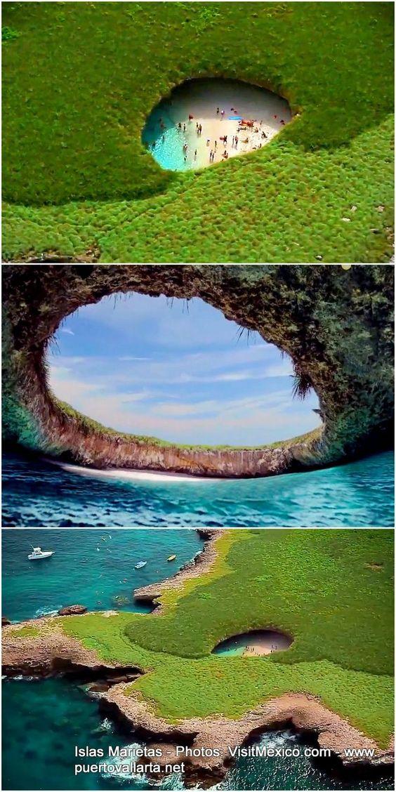멕시코 마리에타 섬의 히든비치에서 선탠하기