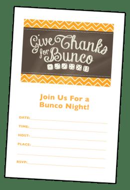 Thanksgiving bunco invitation