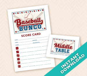 September Bunco Themes baseball