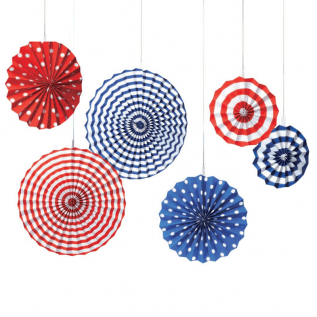 Fourth of July Party Stars & Stripes Hanging Fan Decoration
