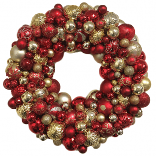 Red and Gold Ornament Christmas Wreath